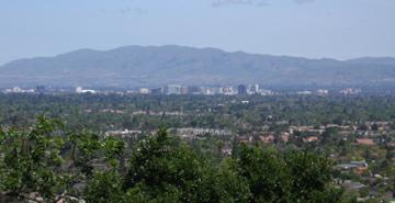 View of downtown San Jose from Harwood Road, Los Gatos