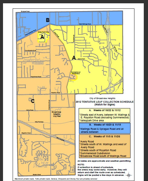Broadview Heights Ohio Leaf Collection schedule and map