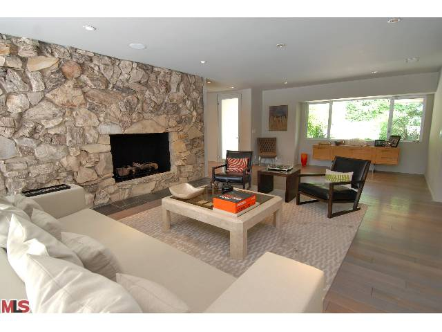 cool rock fireplace in los feliz mid century home