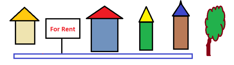 Graphic representation of houses for rent