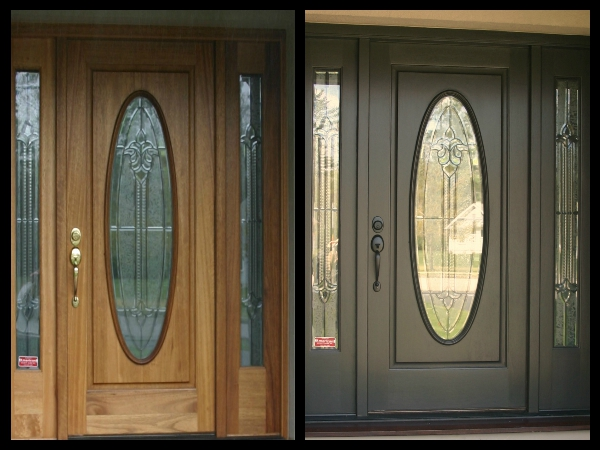 before and after painting front door