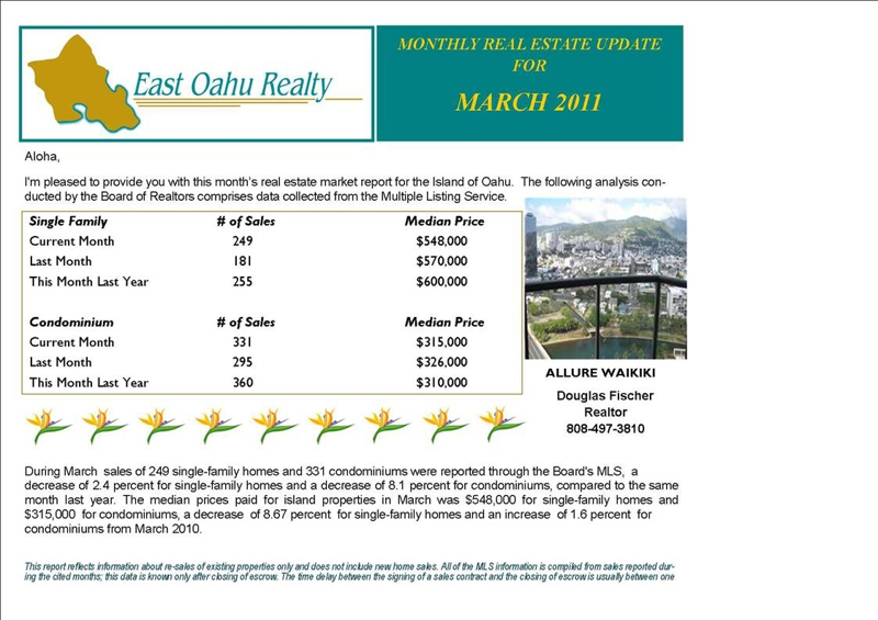 oahu monthly real estate stats