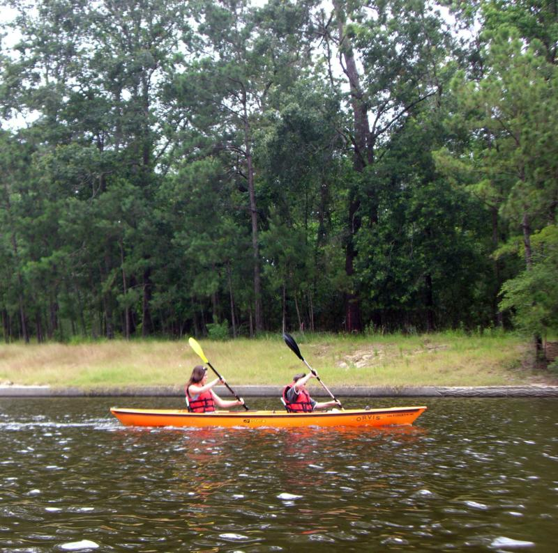 kayaking on lake woodlands, the