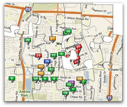 Map City of Worthington home sales