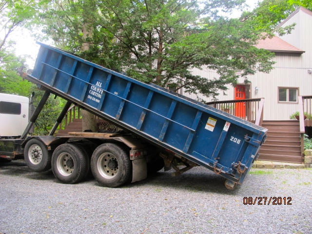 The dumpster is unloaded