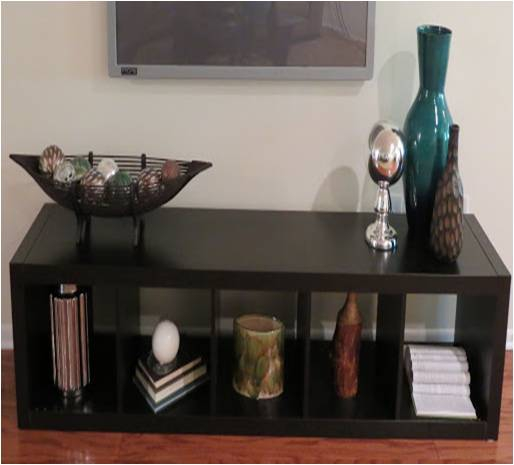 Staged television bench shelves