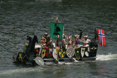 Pontoon boat decorated as Viking ship