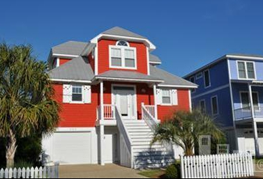 red Seawatch home in Kure Beach