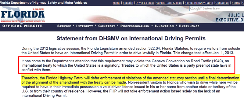 FHP will not Enforce International Driver's Permit per DHSMV