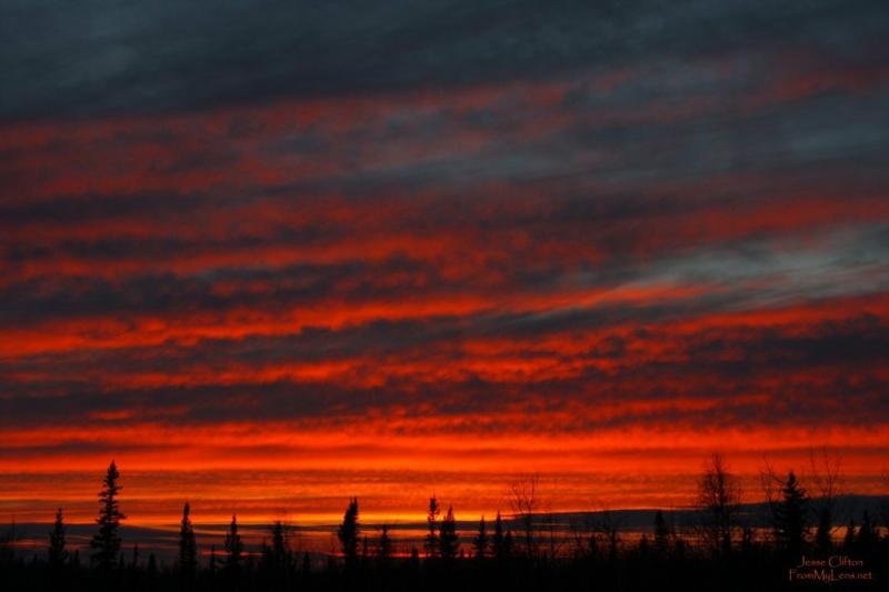 Fiery Sunset - North Pole Alaska