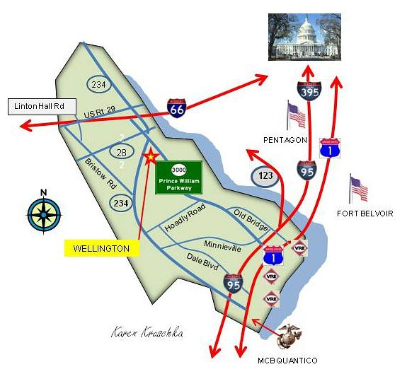 Map of Wellington, Manassas VA