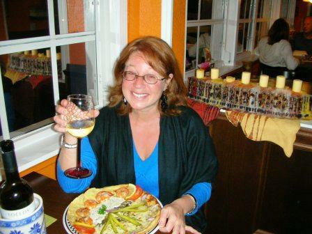 Cecila having dinner