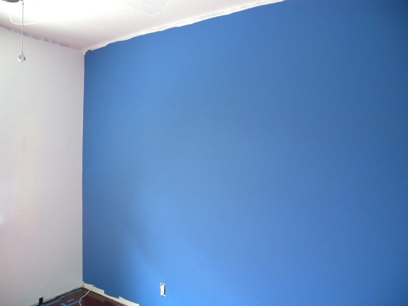 chromokey blue wall in home office blue office walls