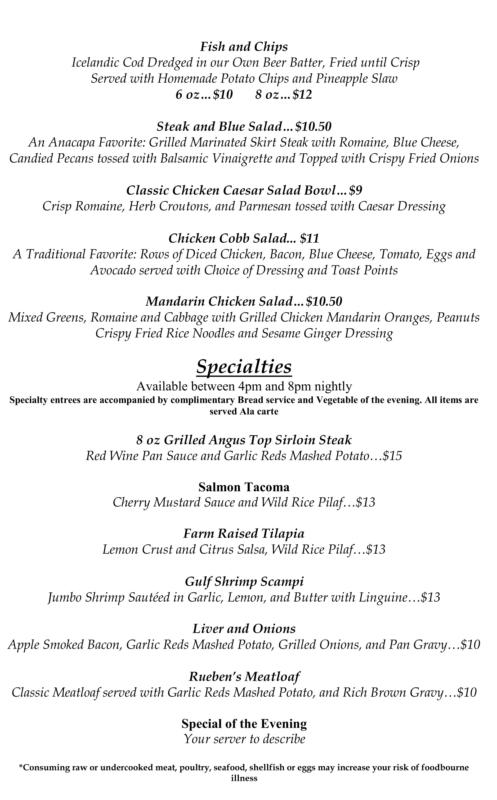 Corte Bella Anacapa restaurant summer menu