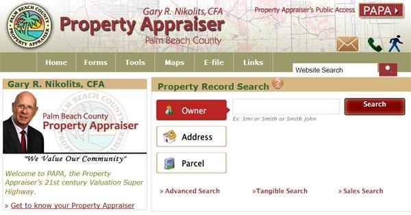 Palm Beach County Property Appraiser Website