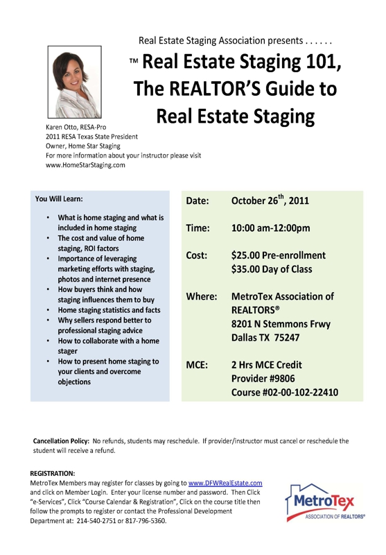RESA Dallas MetroTex Home Staging Course
