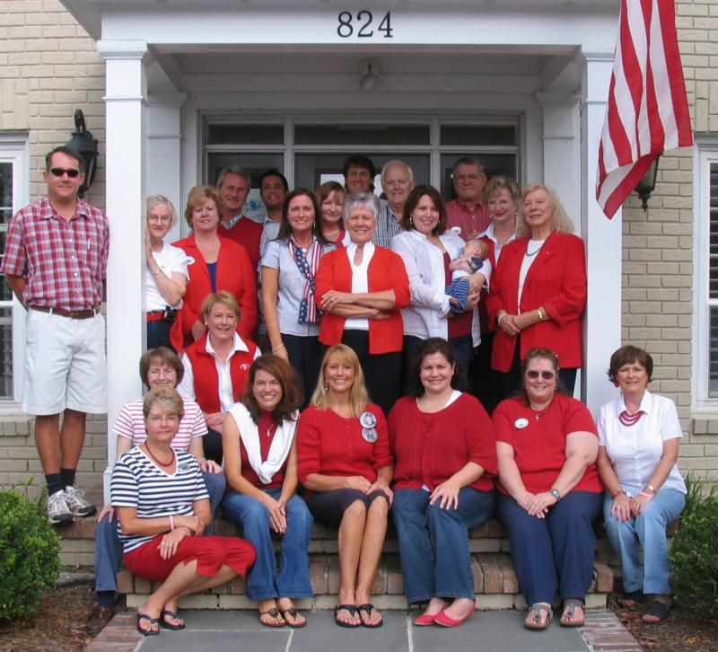 group photo showing red, white & blue