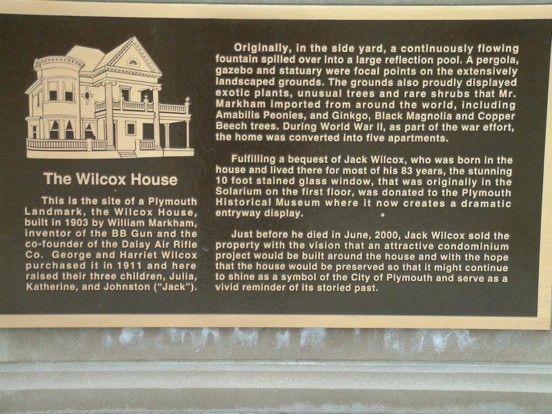 Wilcox house plaque Plymouth Michigan
