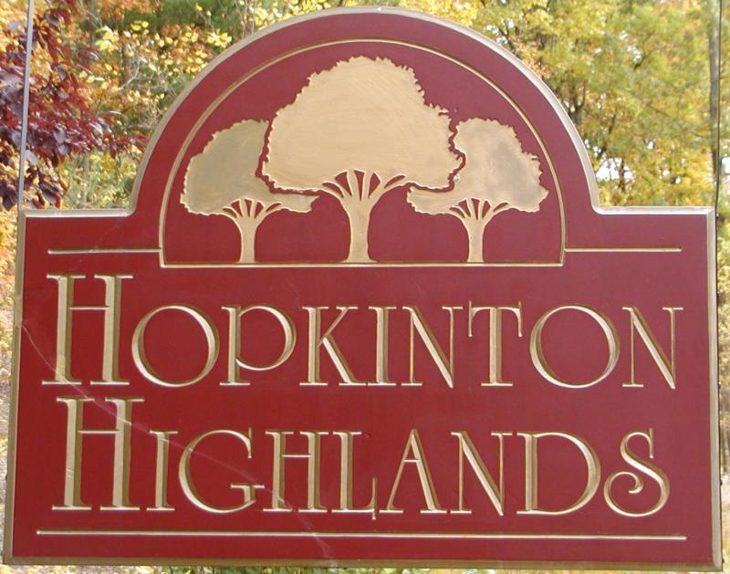 Hopkinton Highlands Sign by Claudette Millette