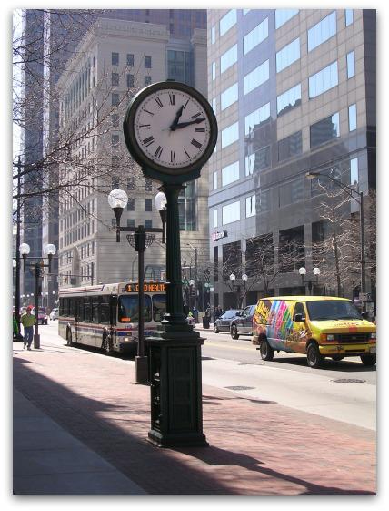 downtown Columbus clock