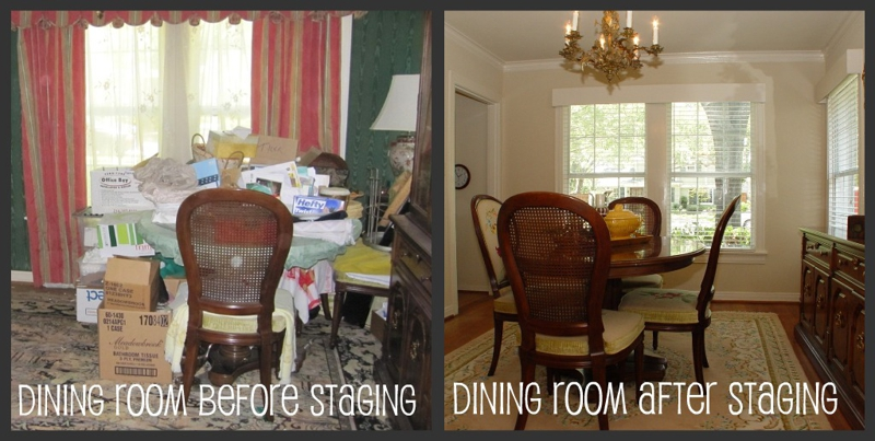 Dining room before and after staging