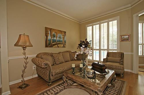 Formal Living Room With Chair Rail, Crown Molding, Wood Flooring,  Plantation Shutters ... Part 39