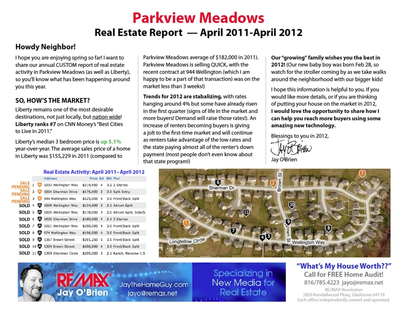 Parkview Meadows Subdivision in Liberty, MO Houses for Sale Report April 2012
