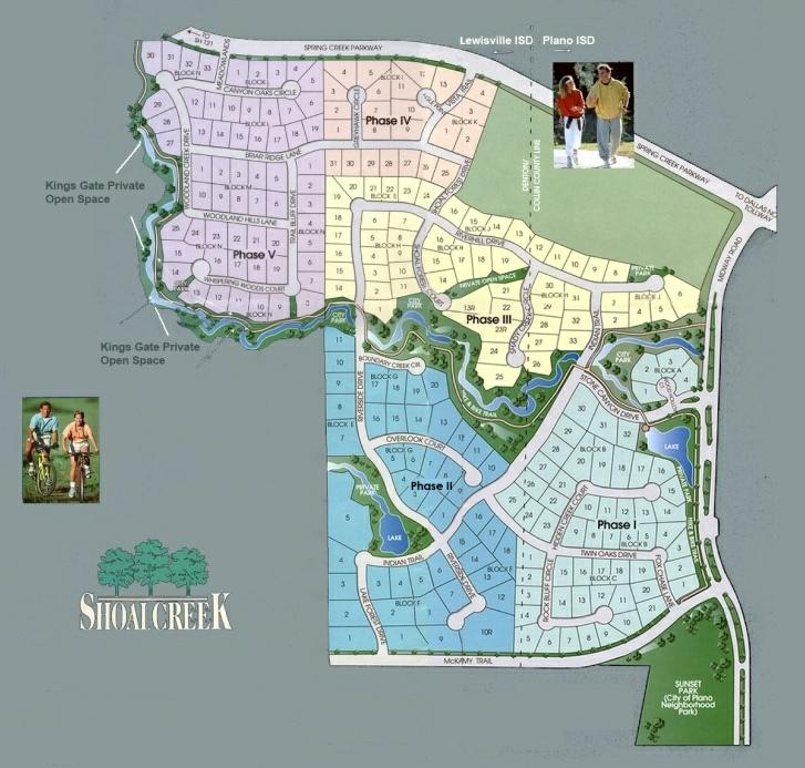 Map of Shoal Creek of NW Plano Texas Real Estate