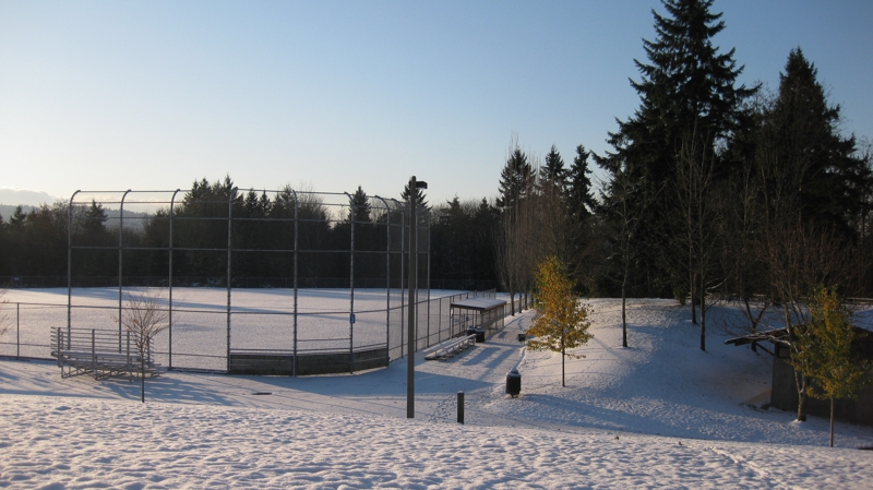 Snow Covered Baseball Field