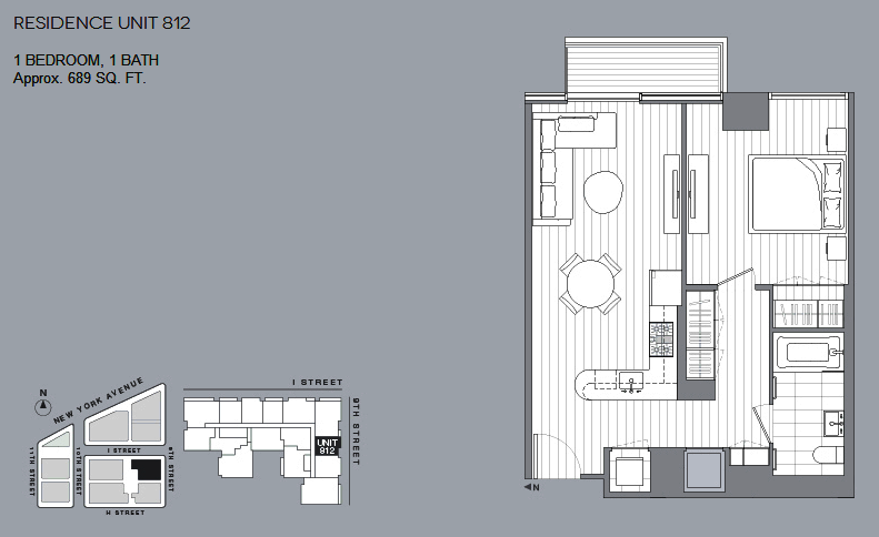 1 BR floorplan Unit 812 New condos City Center DC