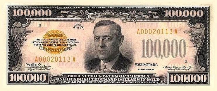 Issued In 1934 It Bears The Picture Of President Woodrow Wilson And Was Only Used By Federal Reserve Banks For Official Transactions Amongst Themselves