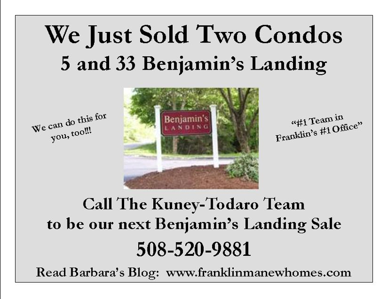 just sold benjamin's landing in franklin ma