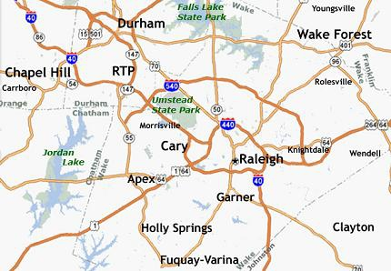 Map of Raleigh and surrounding areas