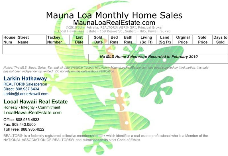Mauna Loa Estates Home Sales for February 2010