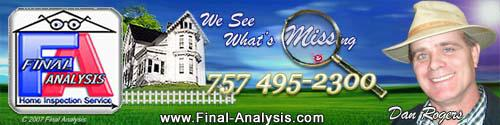 Final Analysis, find home inspectors in virginia beach, Chesapeake VA