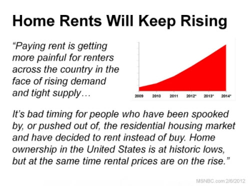 Home rents rising