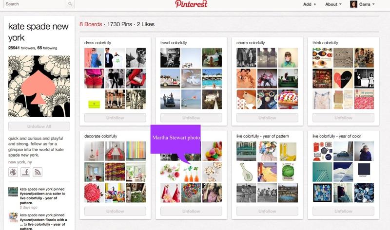 Kate Spade Pinterest Board