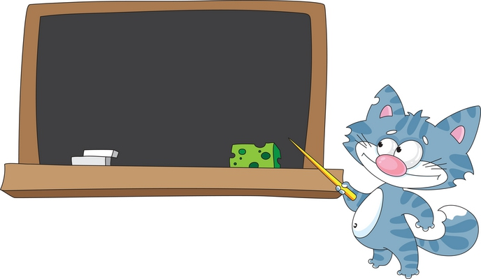 clipart cat at blackboard