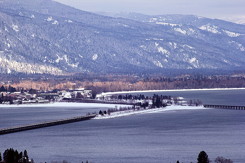 Entering Sandpoint from the Long Bridge over Lake Pend Oreille