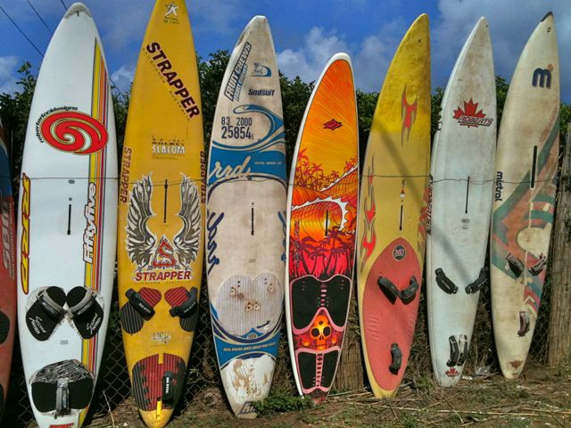 fence of windsurf boards in Kuau Maui HI 96779