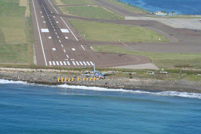 End of runway at Norman Manley International Airport