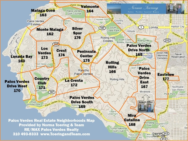 Palos Verdes Map with Home Neighborhoods