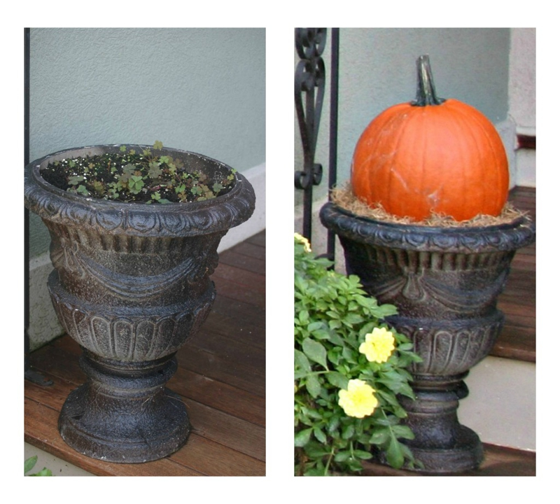 decorating planter for Fall