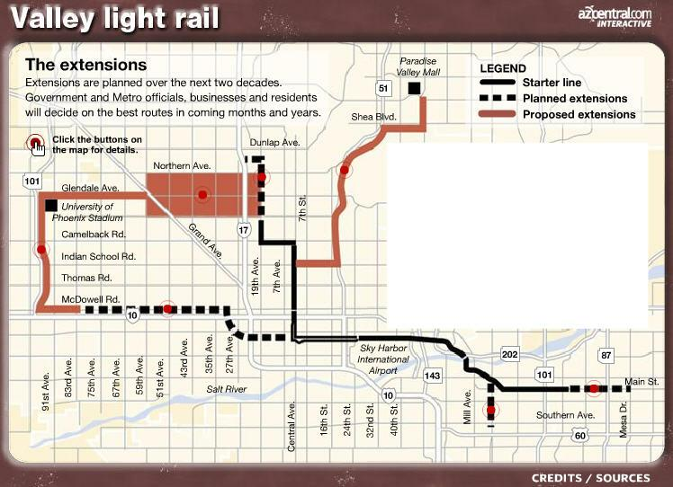 Phoenix Light Rail Cool Map With Extensions