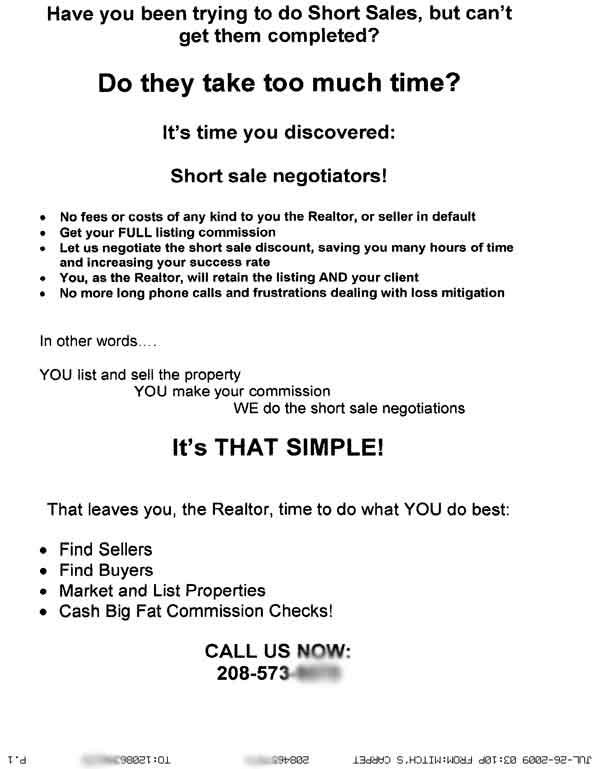 Fax Spam Advertisement on short sales