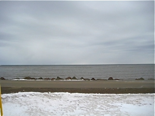 Beach in New Brunswick Canada with snow