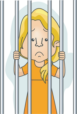 Clipart - woman behind bars