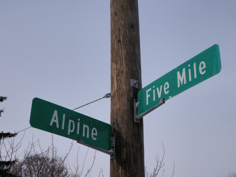 Street sign alpine and five mile in livonia michigan