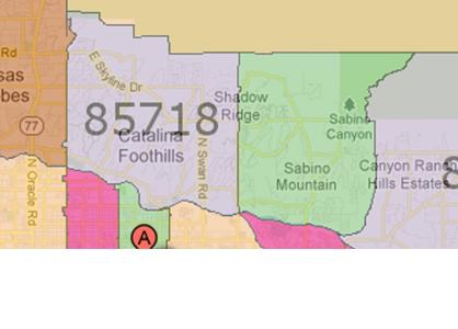 Tucson Area Map by Zip Code