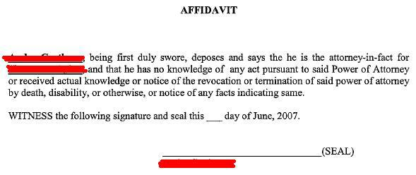 Power of Attorney Affidavit